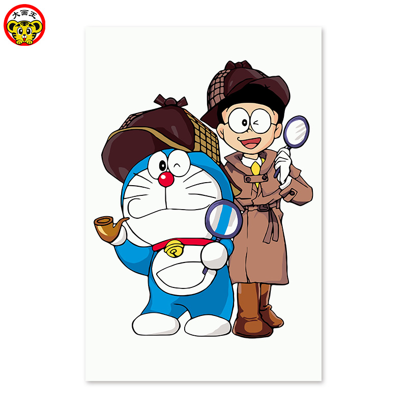 Digital painting DIY, drawing on the cloth by digital Bear and Ding cat Doraemon