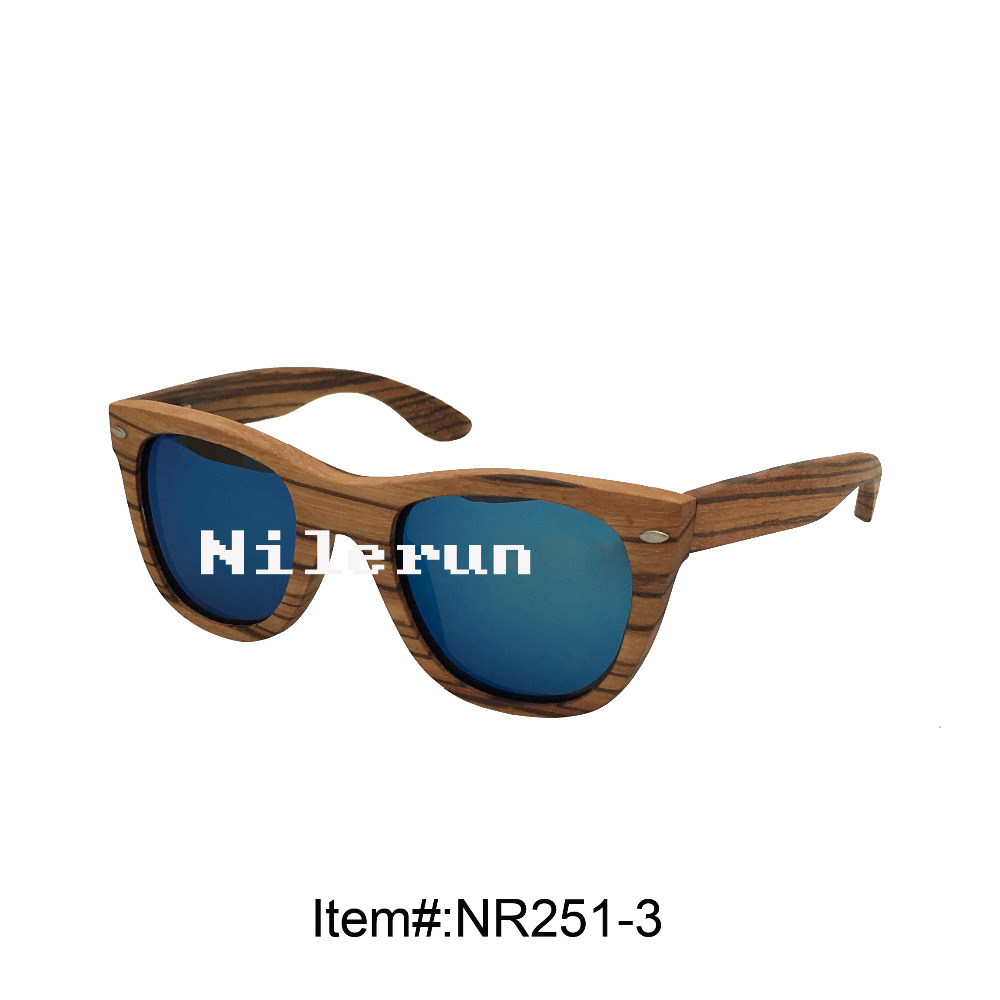 luxury blue lenses zebrawood sunglasses with metal decorating pins
