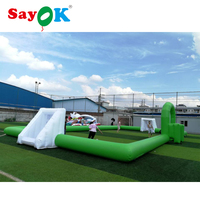 Green PVC Inflatable Football Soccer Field Inflatable Soap Football Field Game Football Pitch Outdoor Game