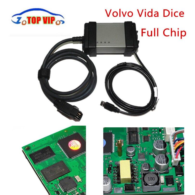 Цена за Лидер продаж полный чип 2014D Volvo VIDA Игральные кости для vo-l-vo Игральные кости Pro + Качество Зеленый доска Полный Функция OBD2 диагностический сканер