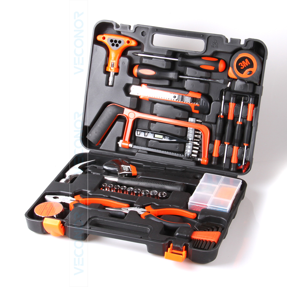 82pcs Hand Tool Set Kit Household Tool Kit Saw Screwdriver Hammer Tape Measure Wrench Plier
