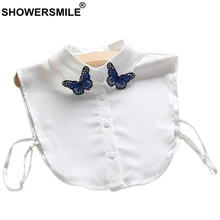 SHOWERSMILE White Fake Collar Women Embroidery Detachable Female Fashion Blue Butterfly Shirt Clothes Accessories