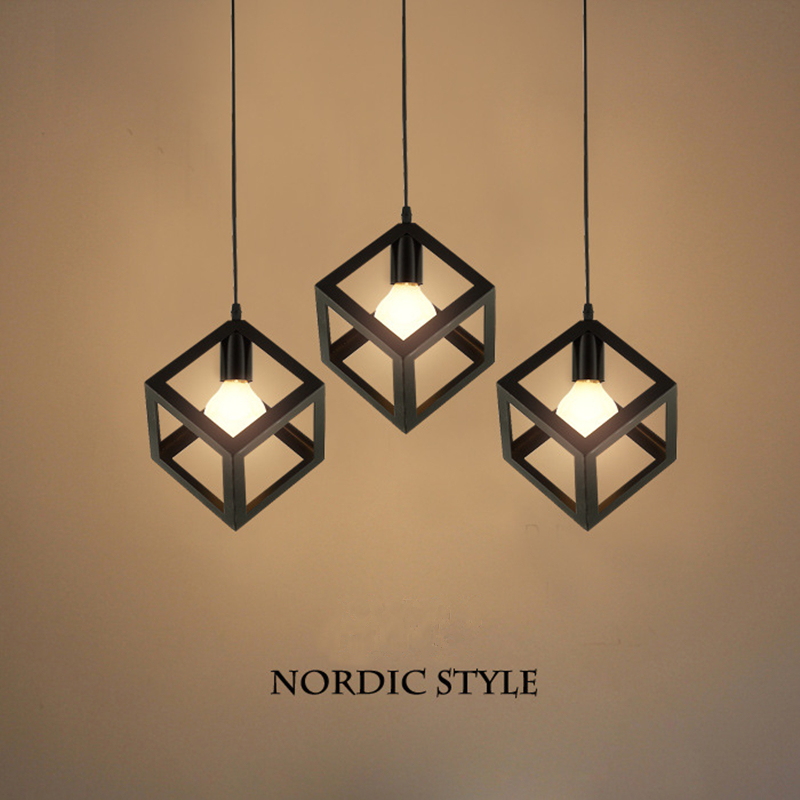 European Minimalist Style Square Pendant Lamp LED Light Three Head Retro Iron Art White Black Droplight With E27 In Lights From