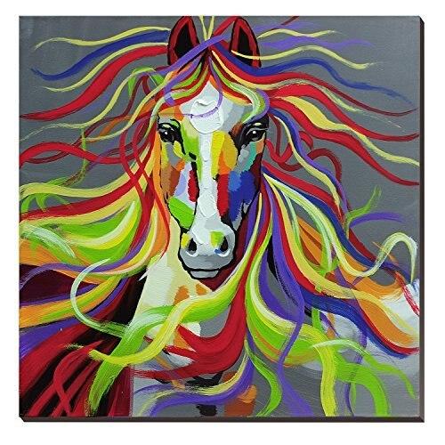 Красочные Лошадь Картина маслом забавные животные уход за кожей лица изображение Радуга диких животных холст для живописи настенное искус