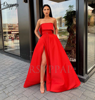 Long Dubai Evening Dresses 2019 Elegant High Slit Sexy New Arrival Red Satin Arabic Formal Evening Gowns robe soiree