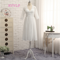 Vestido De Noiva 2016 Short Wedding Dresses A Line 3 4 Sleeves Tea Length Chiffon Lace