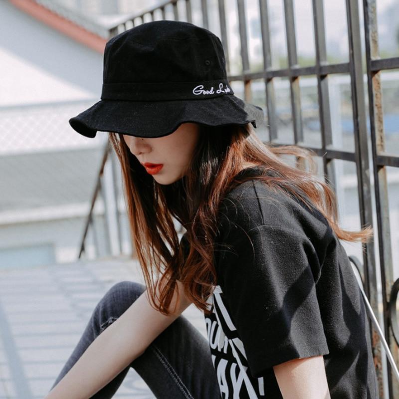 Embroidery Good Luck Bucket Hat Women Bob Hip Hop Caps Gorros Summer Unisex Cotton Man Beach Sun Fishman Fashion