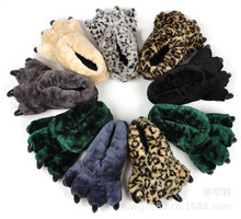 Winter Home Slippers Women Men Funny Animal Bear Paw Shoes Christmas Plush Warm Leopard Indoor Slippers Monster Dinosaur Claw