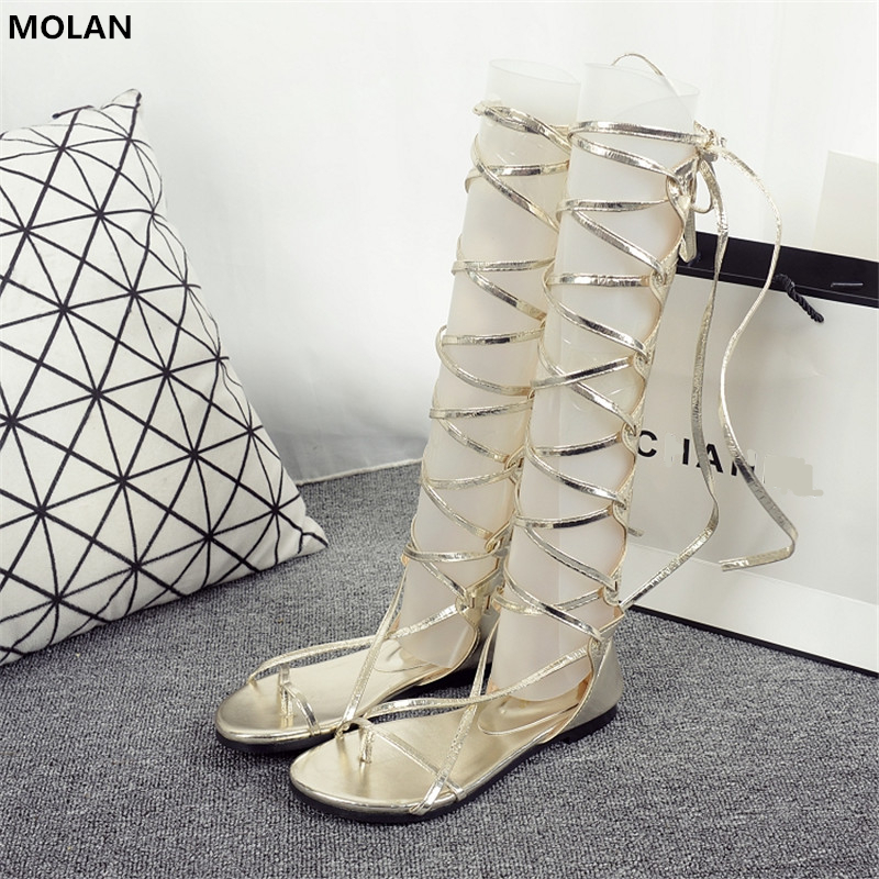 MOLAN Brand 2018 Summer Superstar Black Golden Fashion Cross Tied Gladiator Zip Sandals Lace Up Woman Flat Rome Shoes 35-40