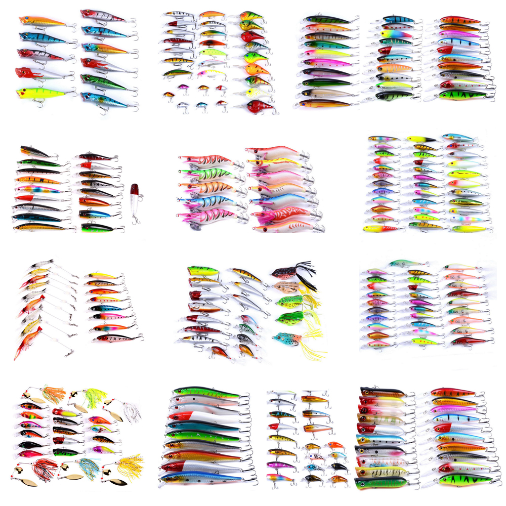 Mixed Fishing Lure Kits Crankbait/Minnow/Popper/Soft Lures Frog bait AOrace Fishing Lures Iscas Artificial Lifelike Carp Fishing 1pcs 12cm 14g big wobbler fishing lures sea trolling minnow artificial bait carp peche crankbait pesca jerkbait ye 37