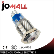 GQ16F-11D 16mm 1NO 1NC momentary LED light Dot Lamp type metal push button switch with flat round
