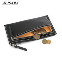 Alisara Men's Long Wallet Genuine Leather High Quality Zipper Male Clutches Wallets Credit Card Case Top Cowhide Wallets Pouch