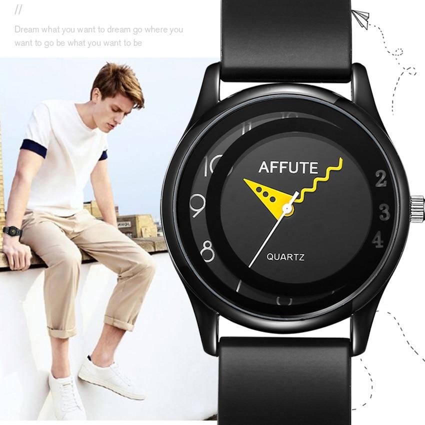 AFFUTE Brand Fashion Thin Rubber Strap Waterproof Men's Analog Quartz Sport Watches Men Wristwatch Male Clock Relogio Masculino неттоп lenovo thinkcentre m600 tiny slim 10gb000sru celeron j3060 1 6 2gb 500gb int intel hd wifi bt 6xusb 3 0 2xdp lan win 10 black