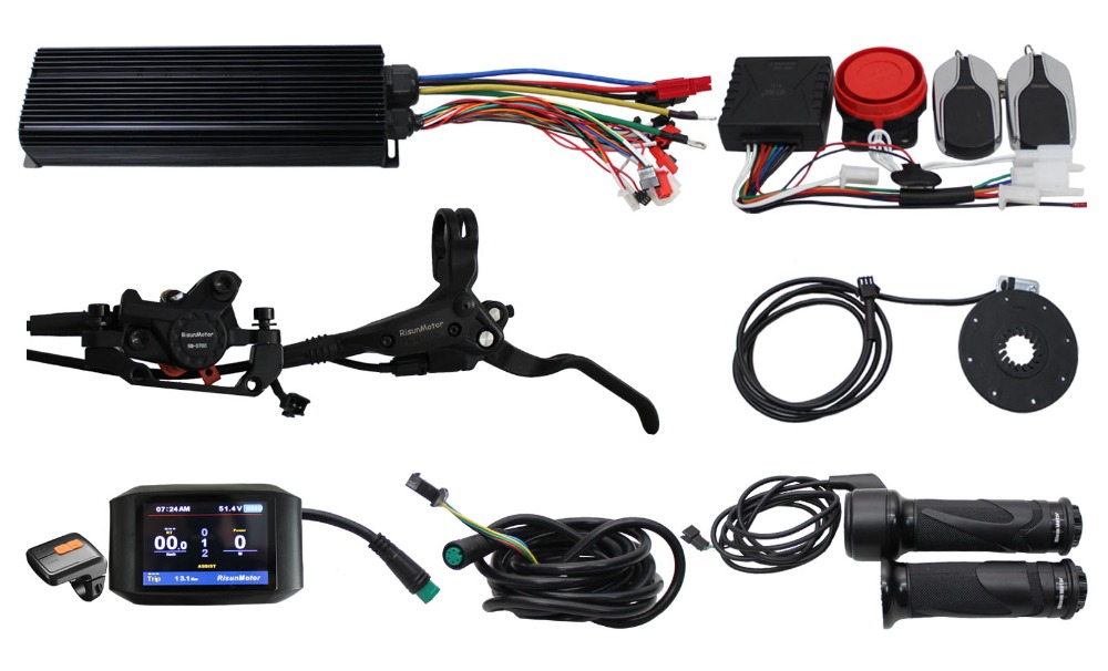 RisunMotor 48V 60V 72V 100A 3000W Regenerative Programmable Controller Ebike DIY Kit With Alarm System+750C Display+PAS+Brakes 16 18 48v 60v 72v 1000w hub motor kit for electric motorcycle diy with controller and hydraulic disc brake system