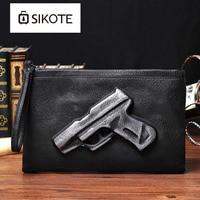 sikote Men's hand bag, wrist bag, PU leather tide package pressure, pistol modeling embossed bag. Convenient carry bag.