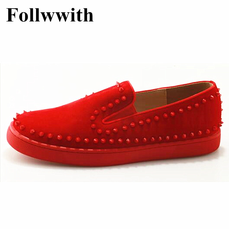 Top Quality Red Leather Spikes Loafers Rivets Studs Casual Mens Smoking Slipper Shoes Flats Platform Slip On Men Shoes hot sale mens italian style flat shoes genuine leather handmade men casual flats top quality oxford shoes men leather shoes