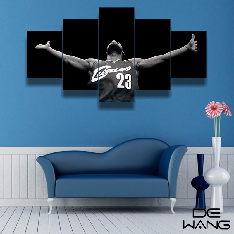 Nba Basketball Miami Heat Bedroom In: Framed Art 5 Panel Print Canvas Nba Art Picture Wall Art