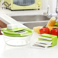 TTLIFE Mandoline Vegetable Slicer Fruit Cutter With 5 Interchangeable Stainless Steel Blades Potato Carrot Dicer Salad