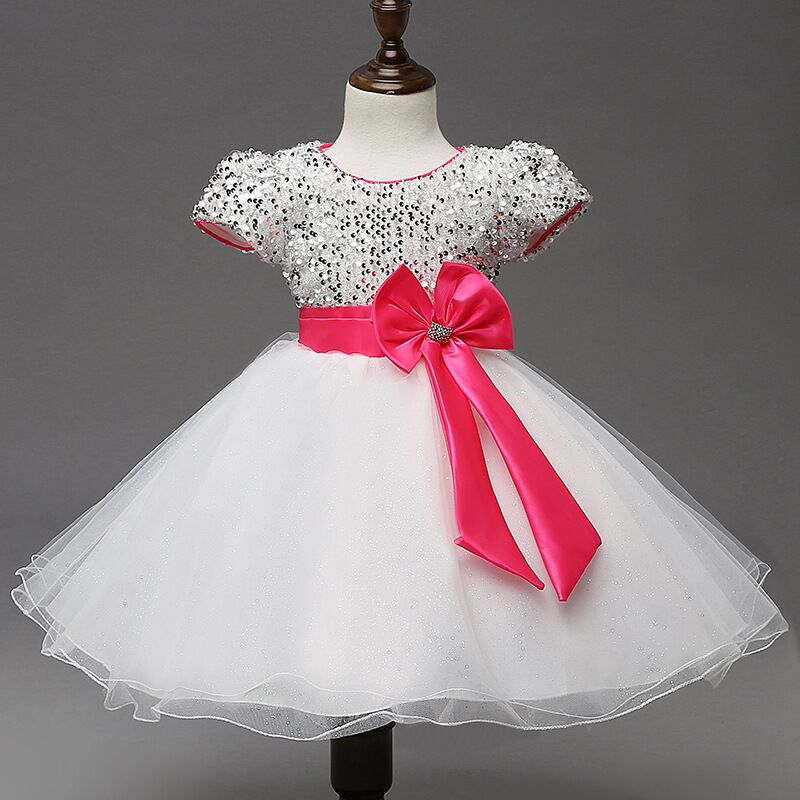 EMS DHL Free shipping littlegirls kids Princess Party Dress Sequined Pink Big  Bow Bodice Dress Holiday Wear Sparkle dress-in Dresses from Mother   Kids  on ... 19212b6163ed
