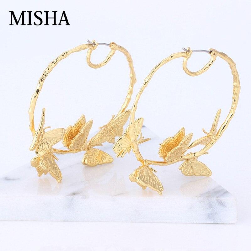 MISHA Elegante Frankreich Gold Schmetterling Reben Ohrringe Kupfer Überzogen Für Frauen Marke Partei Schmuck Luxus Ohrringe L525