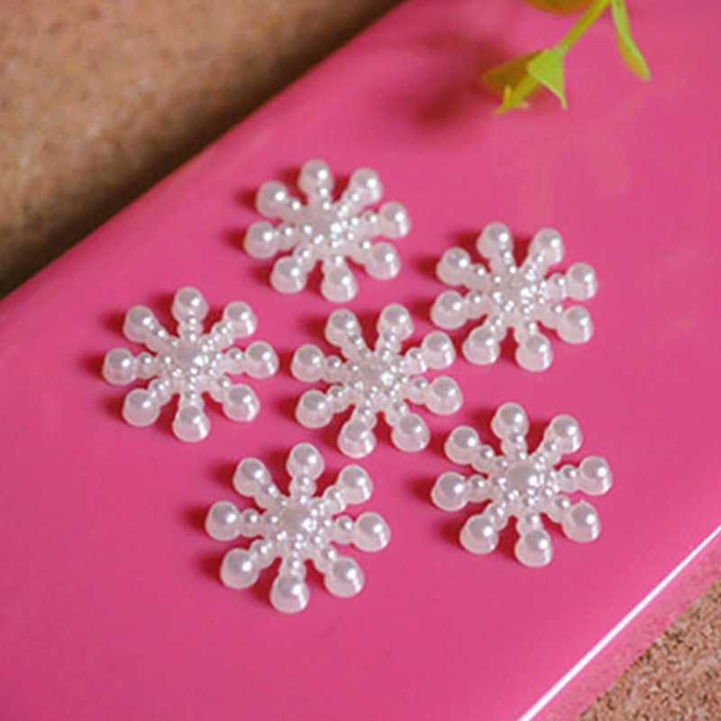 100Pcs Snowflake ประดิษฐ์ Flatback Pearl การ์ดคริสต์มาสทำ DIY Craft