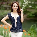 New Casual Sweet Women Ladies Chiffon Dot Doll Collar Short Sleeve Tops Blouse Blusas