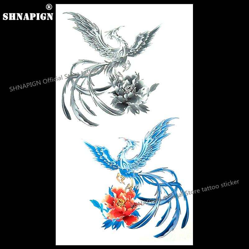 R264 16 De Descontoshnapign O Azul Cinza Gelo Phoenix Tatuagem Temporária Body Art Braço Flash Do Tatuagem Adesivos 1710 Cm Falso à Prova D água