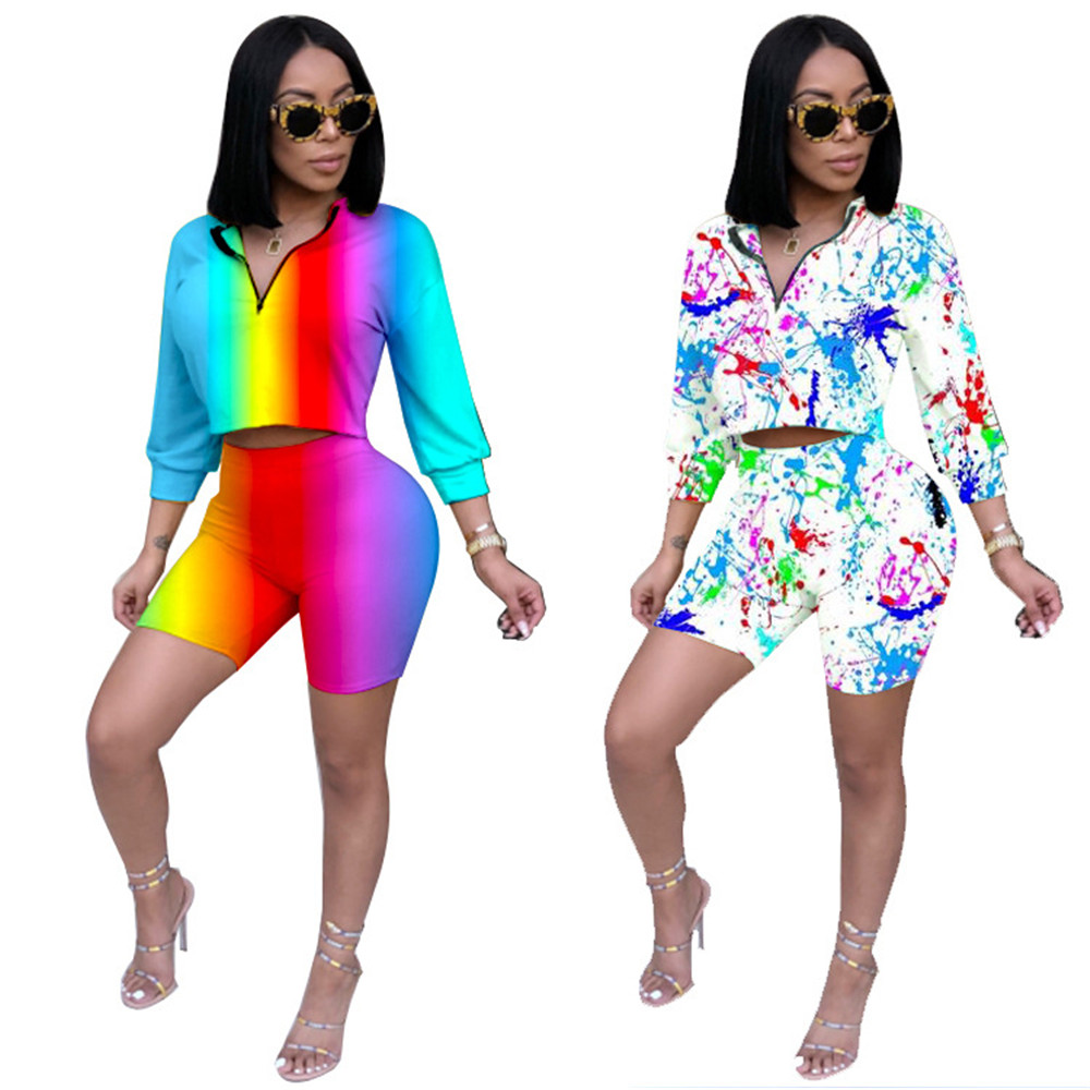 Summer fashion personality 3D printing rainbow striped women's suit multi-color personality suit T-shirt tops / shorts full set