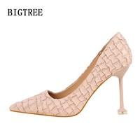 designer pink flock stone bigtree shoes woman fetish high heels women shoes high heel pumps italian euros escarpins femme 2019