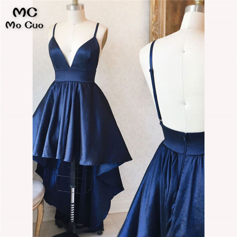 2018 Elegant Hi Lo Gown Navy Blue   Prom     dresses   Long Deep V-Neck Spaghetti Straps   dress   for graduation Evening   Prom     Dress