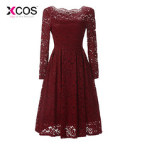 XCOS Elegant Short Mother Of The Bride Dresses 2018 Lace Dress For Wedding Guest Knee Length