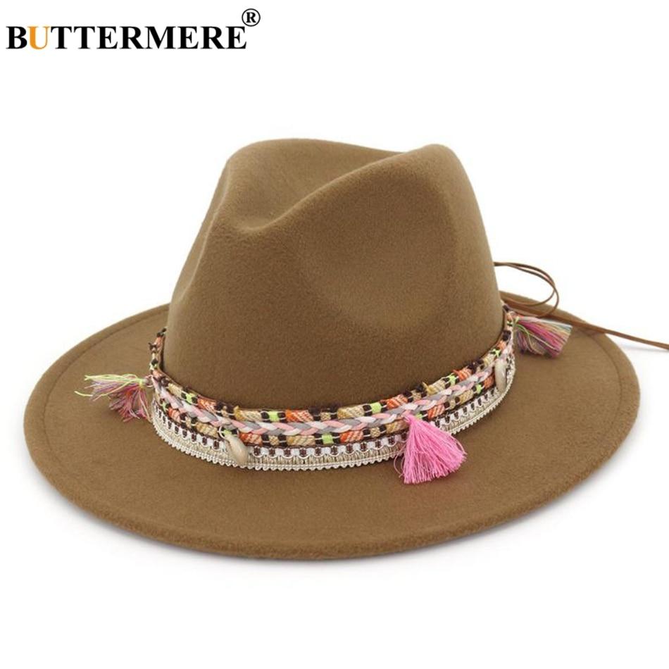 BUTTERMERE Womens Fedora Hat Wool Khaki Jazz Hats Female National Casual Large Brim Vintage Autumn Classic Felt And Cap 2019