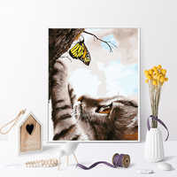 Farbe durch zahl kunst malerei durch zahlen Kätzchen nette nette größe mutter und kind paar katze fangen schmetterling
