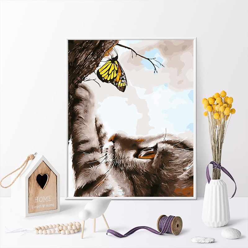Paint By Number Art Painting By Numbers Kitten Cute Cute Size Mother And Child Couple Cat Catch Butterfly