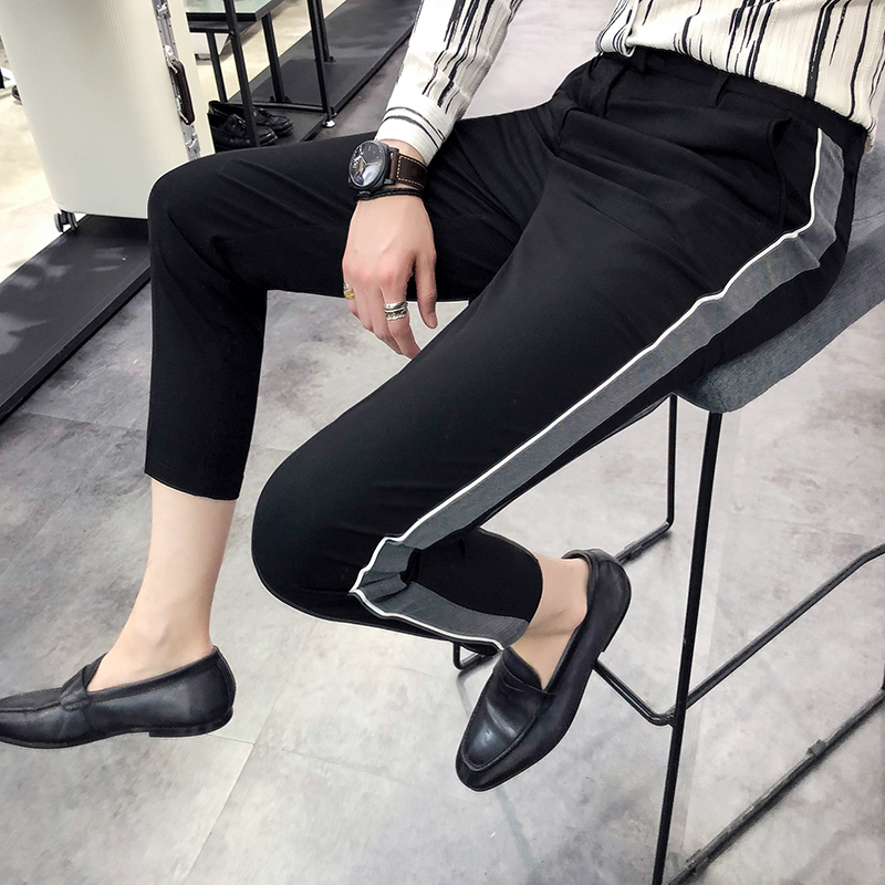 New pants mens casual summer thin section British side nine pants hit color mens slim hair stylist feet pants