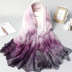 Image 5 - Real Zijden Sjaal Voor Vrouwen 2020 Nieuwe Mode Bloemenprint Sjaals En Wraps Dunne Lange Pashmina Dames Foulard Bandana Hijab sjaals