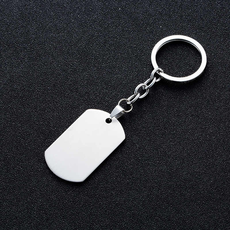 Clássico de aço inoxidável moda chaveiro masculino jóias militar do exército tático gravura nome id tags cartões pingente homem pingentes