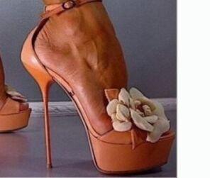 Summer shoes women 2017 platform high heel sandals extreme high heel flower design ankle-strap lace-up women flower shoes nude