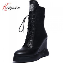 2015 winter high heels wedges women  fashion less  genuine leather motorcycle boots  platform lace up pointed toe mid calf boots