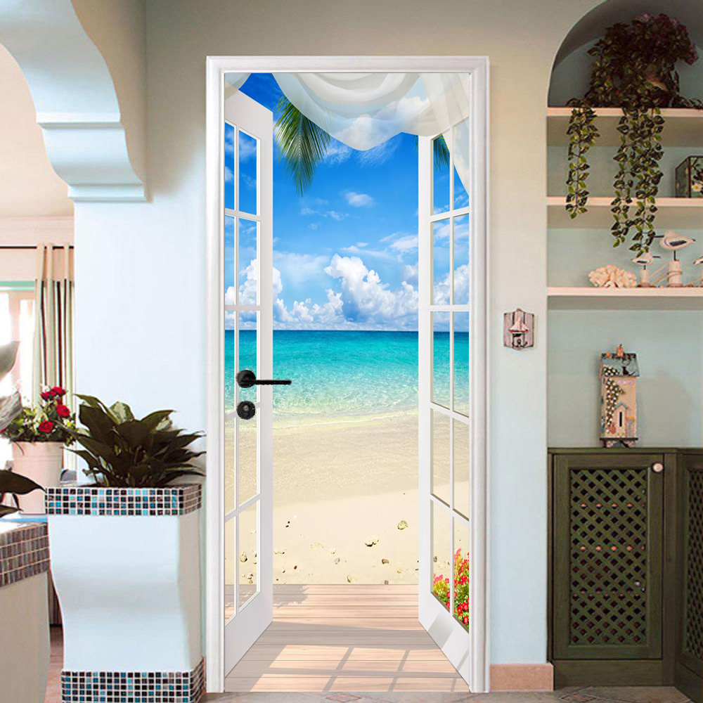 Photo Wallpaper 3D Stereo Window Beach Seaside Landscape Mural PVC Self Adhesive Door Sticker Living Room Bedroom Home Decor 3 D