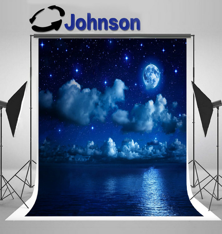super full moon starry sky clouds sea backdrop Vinyl cloth High quality Computer print wall photography backgrounds