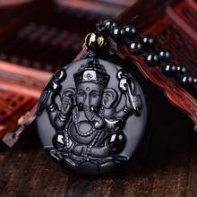 Jewelry Pendants Obsidian Free-Necklace Ganesh Elephant Amulet Crystal Fine-Stone Carved