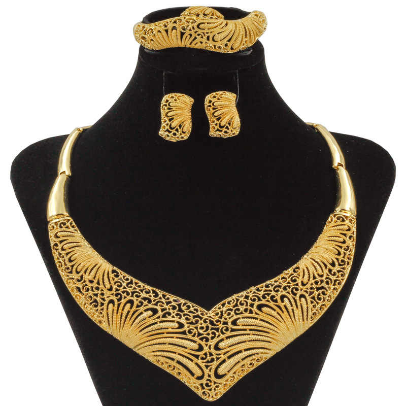 Liffly גדול שמנמן אפריקאי חרוזים תכשיטי סט סיטונאי איכות דובאי תכשיטי זהב בהיר פרח חתונה שרשרת תכשיטי סטים