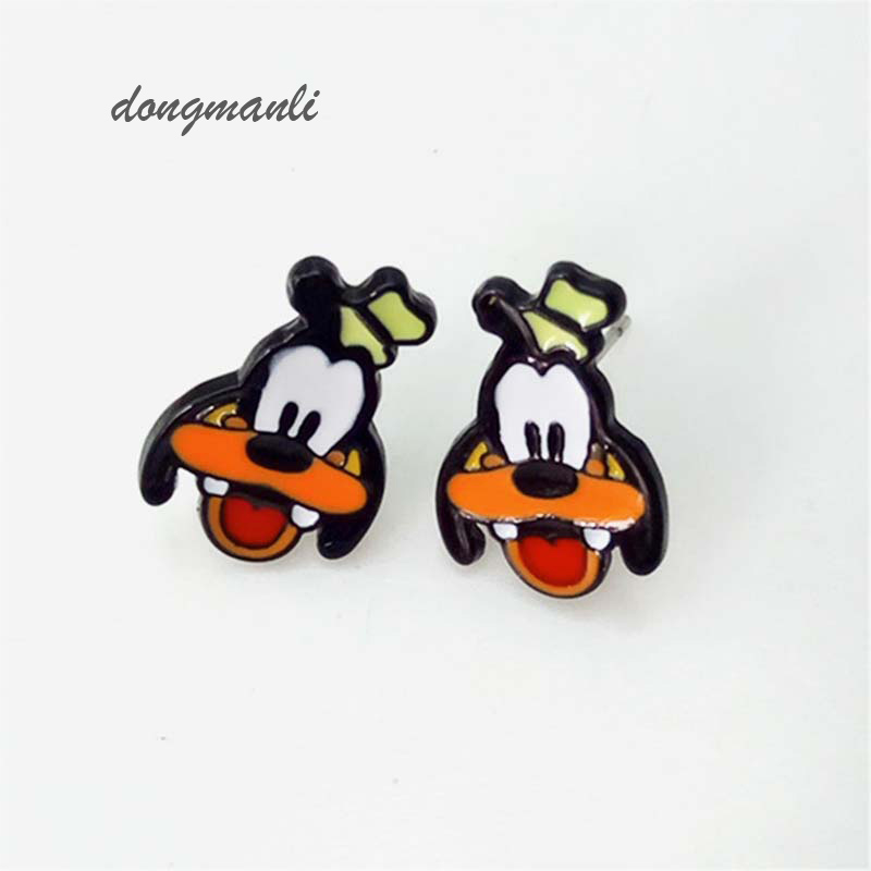 F107 Cute Dog Cartoon Goofy Expression Stud Earrings Female Gift Fashion Jewelry Accessories