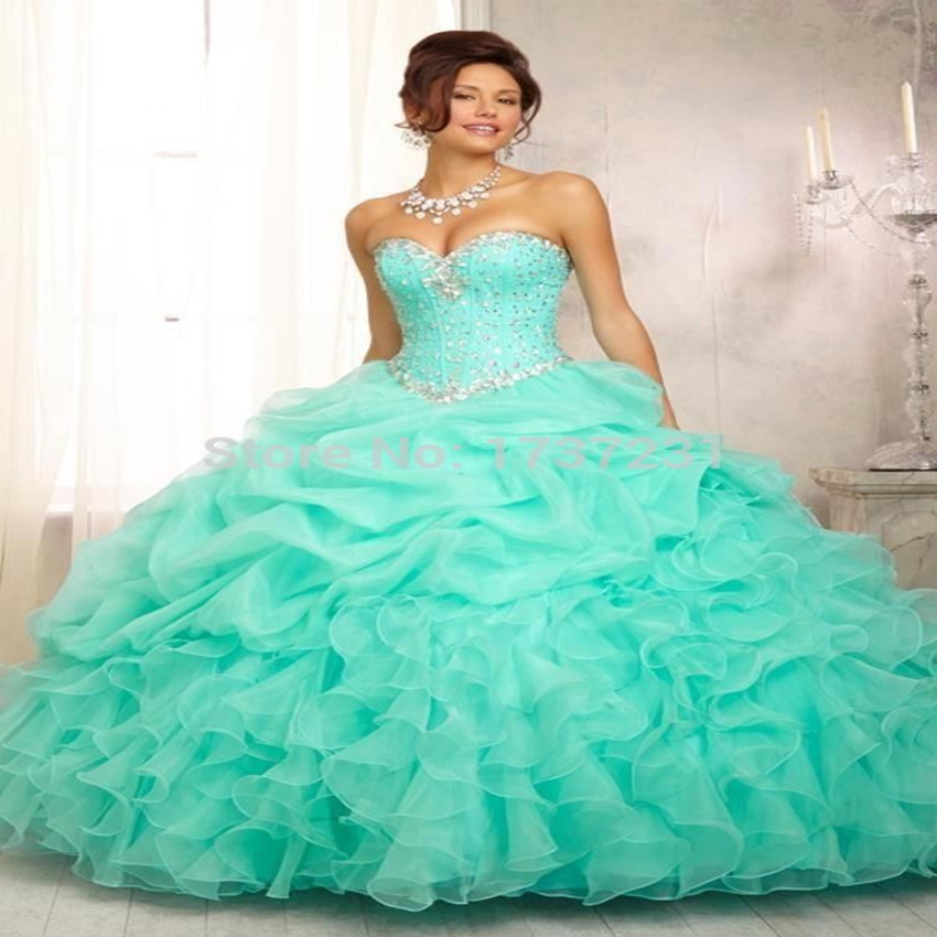 IN Stock Mint Green Quinceanera Dresses 2016 Crystal Sweetheart Gorgeous Ball Gown vestidos de 15 anos cheap quinceanera gowns - Lover Love Store store