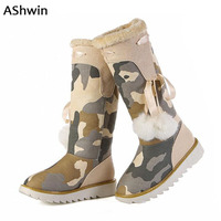 AShwin Thermal Snowboots Women Winter Martin Boots Waterproof Red Bottom Lady Platform Boots Warm Fur Camouflage
