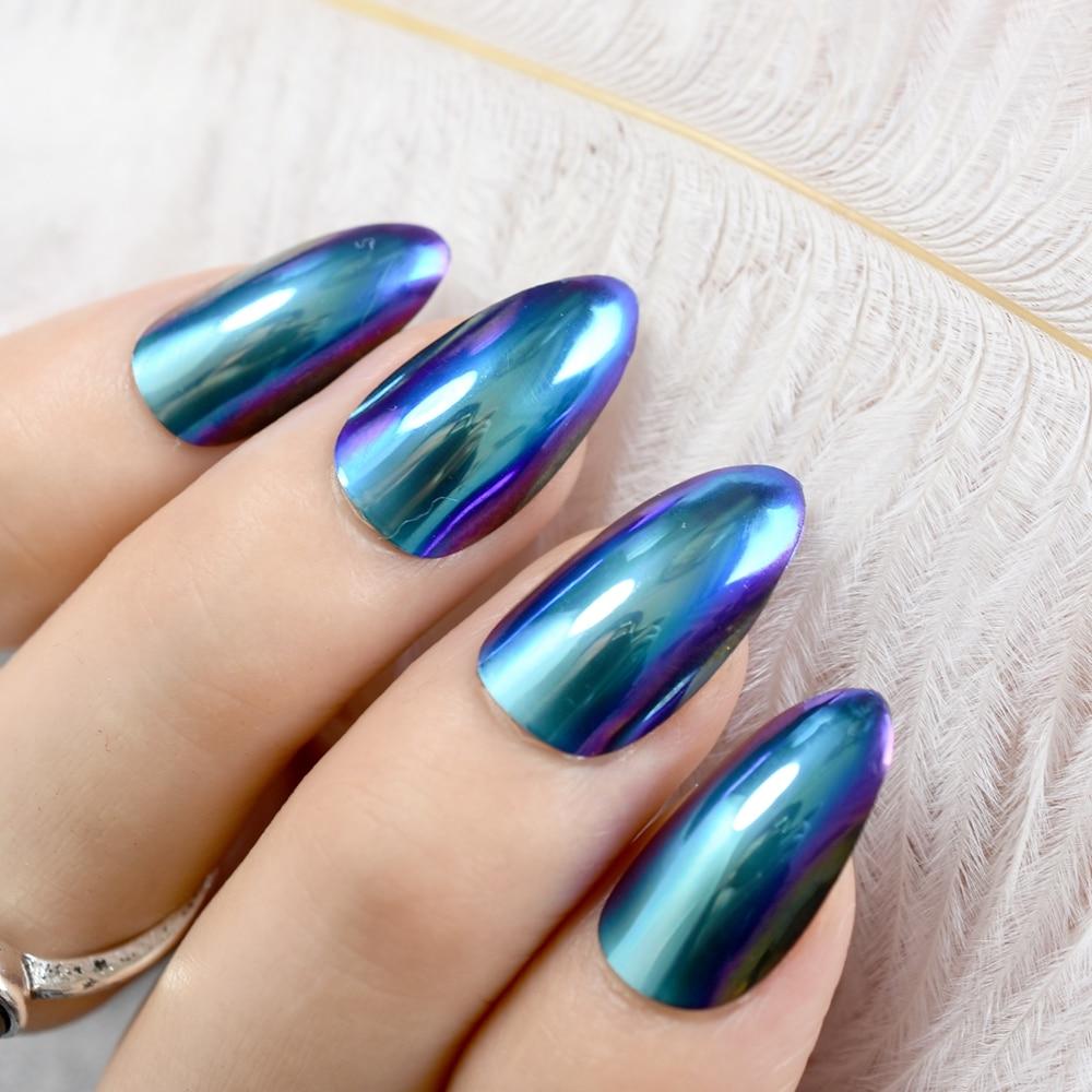 Stilettos Sharp Nails Chrome Chameleon Mirror Metallic False Nail ...