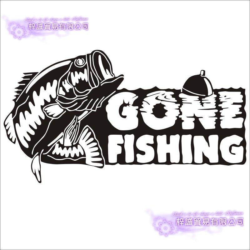 Camo fishing sticker hook fish on