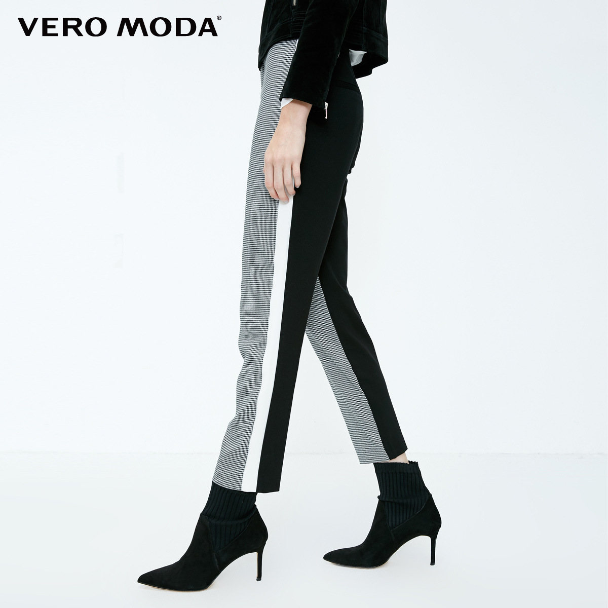 Image 3 - Vero Moda New Womens Houndstooth Splice Front Zip Plaid Stretch Pants  318350519Pants