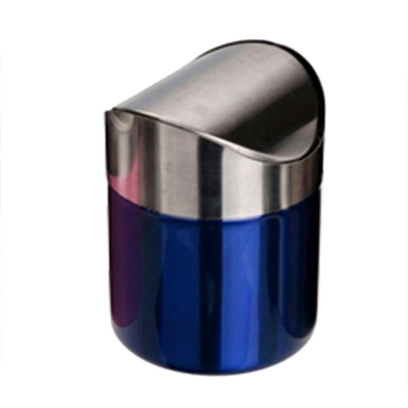 Eco Friendly Dust Bin Kitchen Blue Rubbish Can Stainless Steel Trash Waste Bin Round Roliing